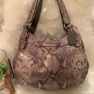 Coach Python Embossed Madison Maggie Hobo Purse